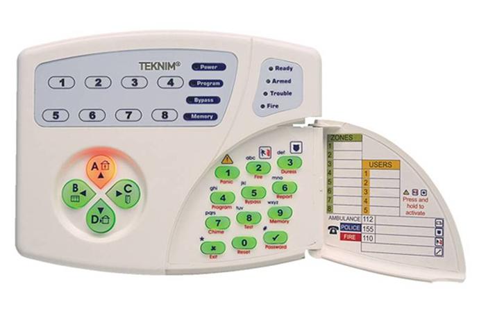 8 adet led zone göstergesi,sistem hatası led göstergesi,dahili 4 ayrı bölge tuşu,alarm hafızası gösterge ledi v.s. ile gelişmiş teknoloji şifre paneli...